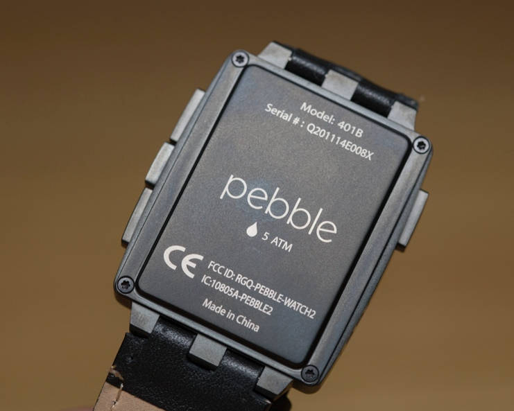 A Pebble watch with 5 ATM water resistant